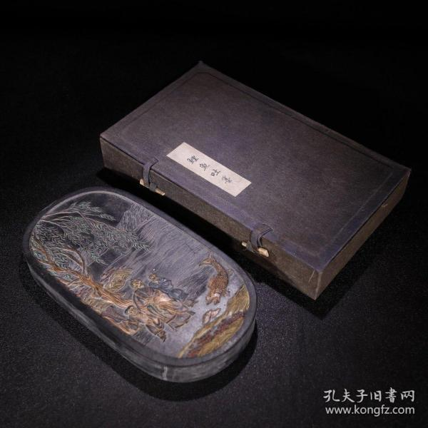 《旧藏 文房老油烟墨 鲤鱼吐墨》