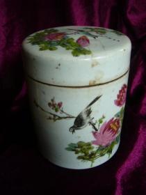 清末民初手绘花鸟纹食物盒 有补缺和冲线