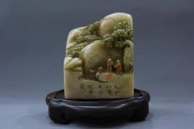 旧藏精品寿山石朱砂俏雕闲章印章B001618