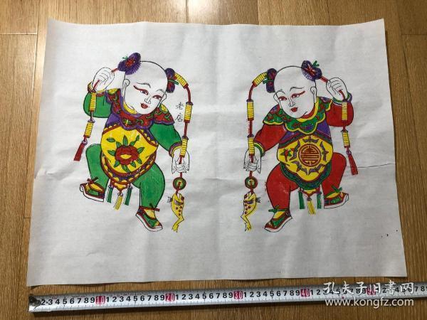 木板年画    刘海戏金蟾 门神(56×42)cm  一对