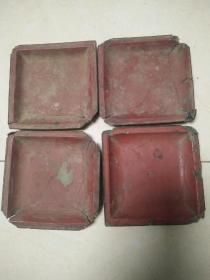 明代老物件杂项【披麻灰的朱红色方盘子】4个自带腿年份好