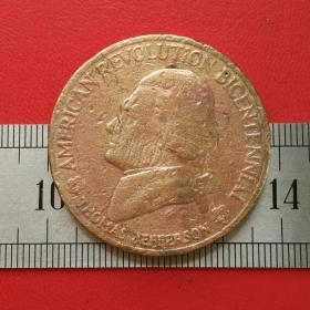 A019美国革命二百周年托马斯杰斐逊独立宣言1776硬币铜章纪念铜币珍藏