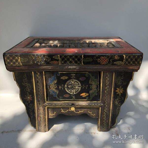 旧藏木胎彩绘漆器福寿图案方桌算盘摆件 重6850克