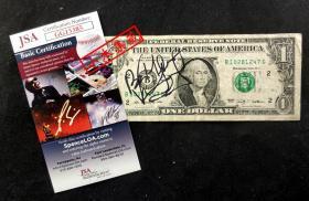 """""""美国首位黑人美国小姐,风中奇缘原型"""" 凡妮莎·威廉斯 签名2009年1美金钞票 由三大签名鉴定公司之一JSA鉴定"""