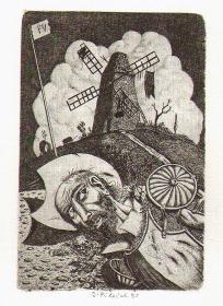 捷克已故著名插画师,版画家Jindrich Pilecek版画藏书票原作
