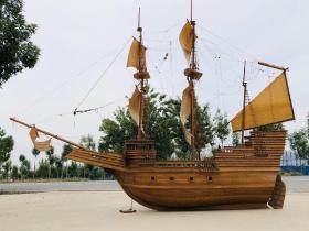 五十年代榉木帆船模型,一帆风顺