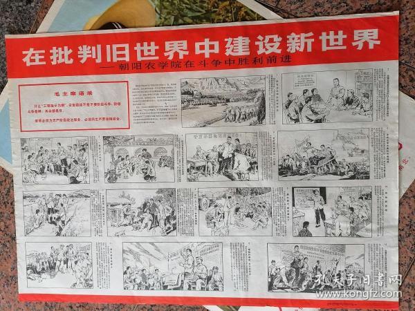 中三1-19、在批判旧世界中建设新世界-朝阳农学院在斗争中胜利前进,朝阳地区朝农教育革命组画工农业余美术创作组,人民美术出版社1976年5月一版一次规格全开,95品。
