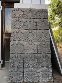 """老砖雕""""五福捧寿""""一套,高浮雕,雕工精细,造型独特,寓意好。大尺寸,尺寸高202宽110。"""