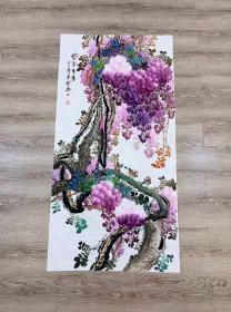 中国国画家协会会员黄艺老师四尺紫藤140*70厘米任选一幅230