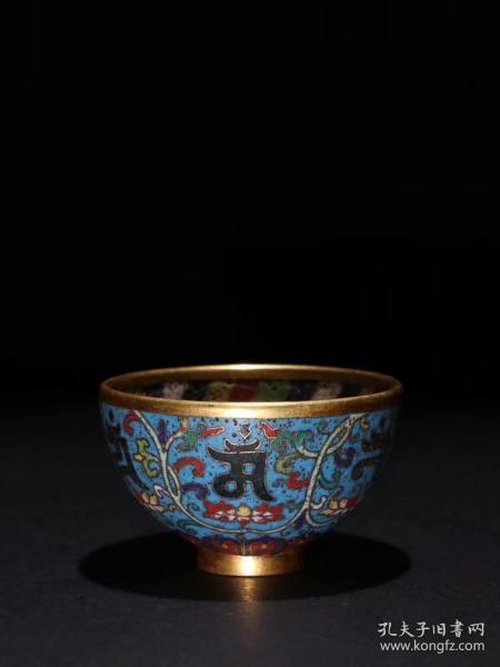 铜胎掐丝珐琅花纹杯