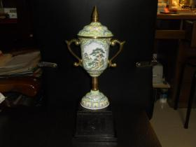 铜胎珐琅彩搪瓷高脚双把盖杯奖杯(含底座高约40cm)