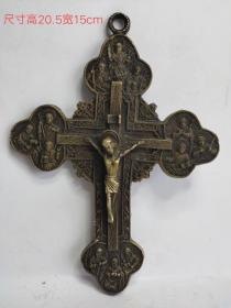 民国铜耶稣十字架,成色如图,雕刻精致,包浆浓厚,保存完整。