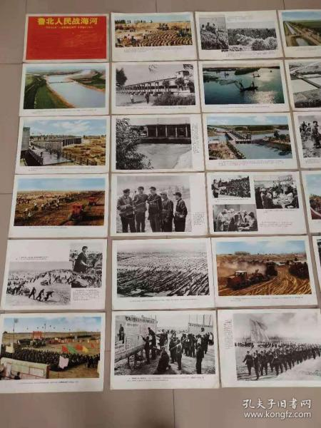 73年8开宣传画《鲁北人民战海河》一套24张全,品相一流,包老!