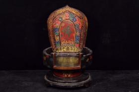 珍藏漆器木胎手绘寿纹佛龛 重1520克