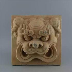 浮雕狮子头陶砖