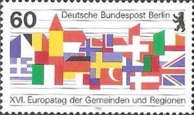 德国邮票 西柏林 1986年 欧洲各国区县代表大会 国旗 城徽 1全新