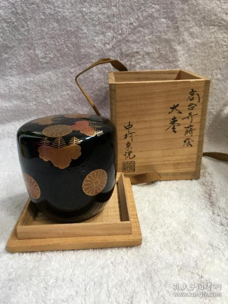 日本回流漆器 茶入 茶粉盒Q4