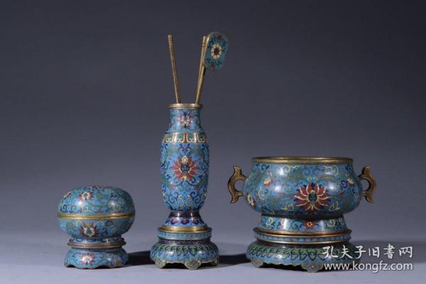 乾隆款·景泰蓝缠枝花卉纹香具一套