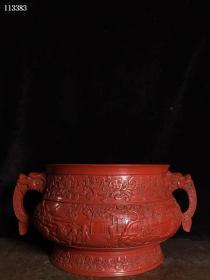 古玩收藏剔红漆器香炉一件B