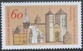 德国邮票 1980年 奥斯纳布吕克建城1200年纪念 市政府 教堂 1全新
