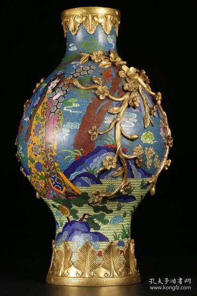 清、乾隆,铜鎏金景泰蓝仕女赏瓶