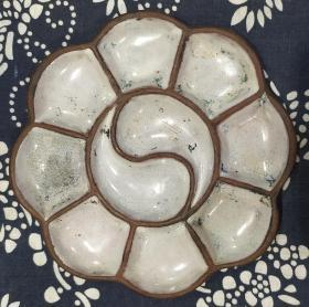 清代 紫砂 挂釉 阴阳八卦 调色盘 11.8*1cm 8成