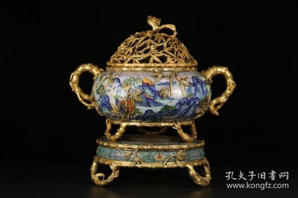 清代,铜鎏金景泰蓝竹节纹香炉