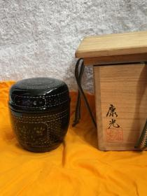 日本回流漆器 茶入 茶粉盒Q5
