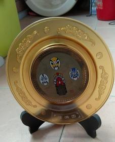 京剧脸谱摆件,玻璃盘子,很漂亮,无包装