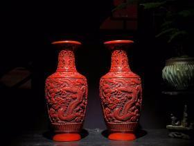 剔红漆器双龙花瓶 高25cm 口径8cm 重1114克