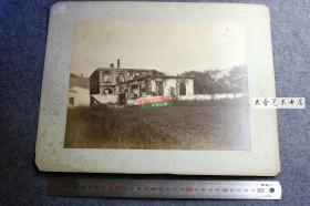 1883年光绪九年广东广州沙面暴动事件中被焚毁的洋行等外国人房屋大幅蛋白照片