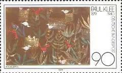 德国邮票 1979年 瑞士画家克勒诞生100年 水彩画 鸟语花香 1全新