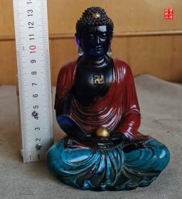清代精品老琉璃佛像释迦摩尼