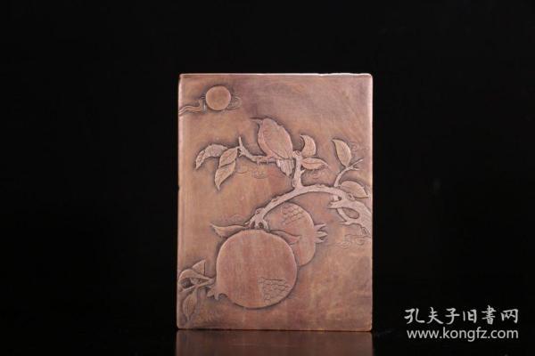 旧藏 文房红丝寿桃盖砚