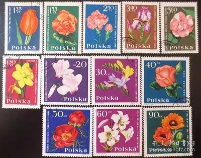 波兰 1964 花卉 郁金香 玫瑰花 月季花 12全盖销戳位随机外国邮票