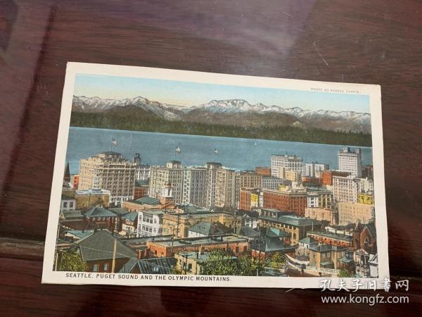 4224:民国日本发行  阿萨赫尔·柯蒂斯摄 西雅图 普吉特湾和奥林匹克山脉 英文明信片一张
