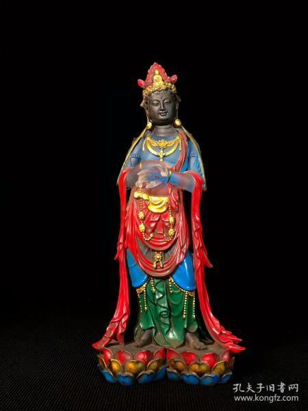 乡下收的清代做工精致的琉璃佛像