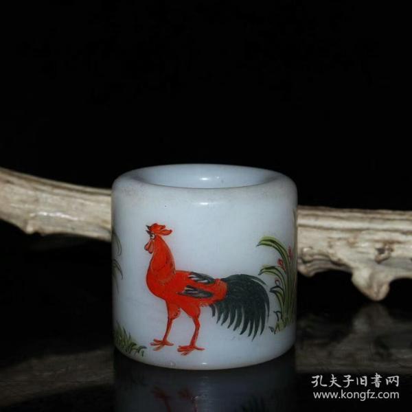 乡下收的清代琉璃描彩公鸡图案扳指