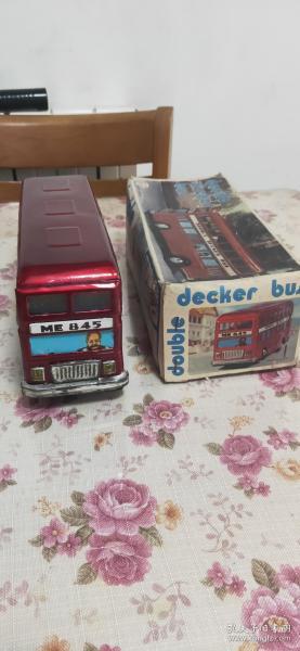老铁皮玩具 红色双层巴士