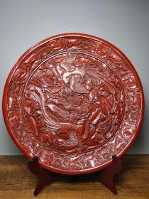 古董收藏清代剔红漆器赏盘凤凰戏牡丹屏风摆件