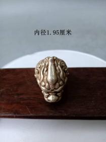 传世少见的兽王足银戒指