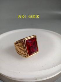 少见的天然红宝石K金戒指    .