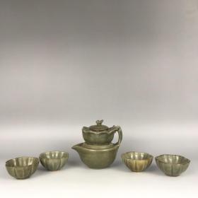 宋越窑茶具 壶高12cm宽11cm杯高3.2cm口径6.2cm