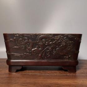 纯铜紫铜浮雕龙纹方香炉