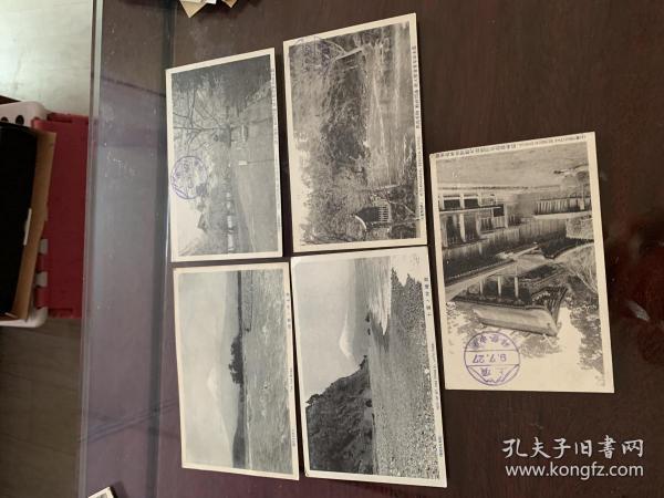 4235:民国日本明信片《富士川的急流 富士山本宫官币大社浅间神社御本殿  等有关富士山风景》5张