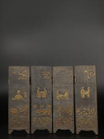 铜鎏金『人物故事』屏风