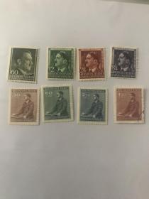 希特勒邮票8张不同 半身 附捐等