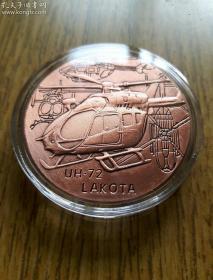 美国空军徽章UH-72攻击直升机雕塑大硬币 军事纪念章军迷收藏品