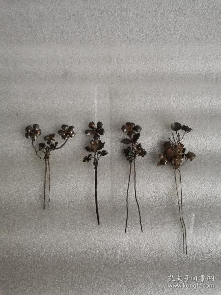 清代银簪子4个,尺寸品相如图