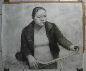 著名画家素描《骑车的女人》